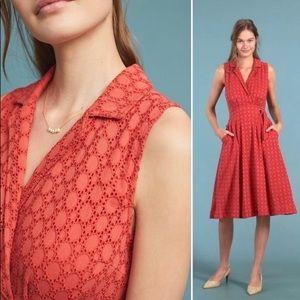 Anthropologie Elm Orange Eyelet Lace Midi Dress 10